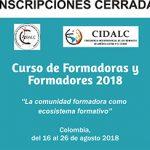 Inscripciones cerradas para curso de Formadoras y Formadores 2018